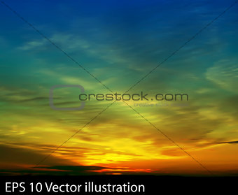 abstract nature clouds background with green blue sunrise