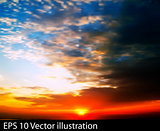 abstract nature sky background with red sunrise