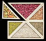 bean and lentil  tangram abstract