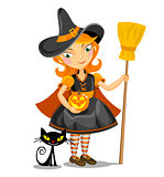 Little Halloween Witch and black cat.