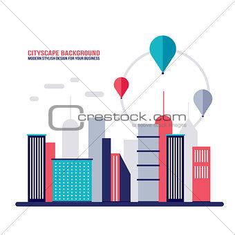 Cityscape background City building silhouettes Flat design