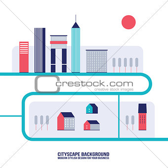 Cityscape background Modern flat design style