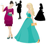 Party women in dress vector