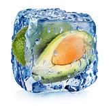 Avocado in ice cube