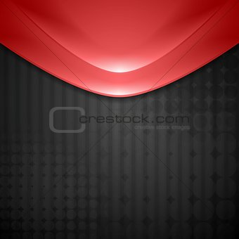 Abstract red waves design. Tech background