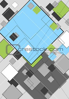Abstract geometry design with squares