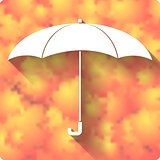 Umbrella icon on autumn background