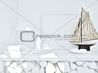 clay render of a still life in white with color ship