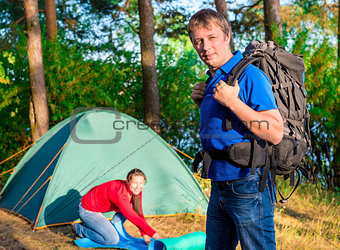 couple arranged for the night at a campsite