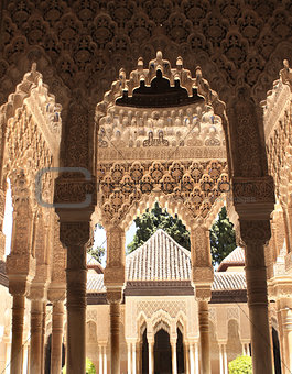 Ancient carved ornament on columns in Alhambra, Spain