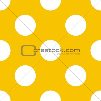 Tile vector pattern with big white polka dots on a sunny yellow background