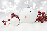 Christmas snowman bauble background