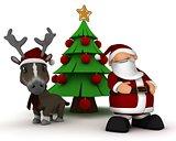 santa and reindeer by christmas tree