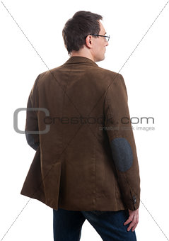 Back view of stylishly dressed man