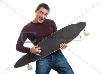 Man holding longboard in his hand