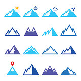 Mountains vector blue icons set
