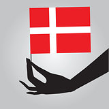 Hand with Denmark flag