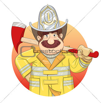 Fireman in uniform with ax.