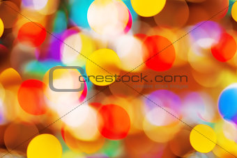Beautiful colorful bokeh festive lights