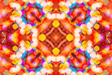 Beautiful colorful bokeh festive lights in kaleidoscope