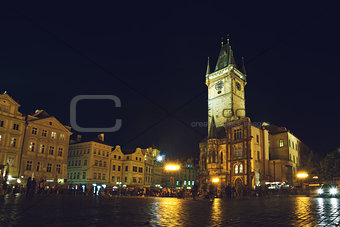 Prague Old Town Hall at Night