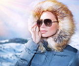 Luxury woman portrait in winter