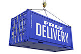 Free Delivery, Blue Cargo Container Hoisted with Hook.