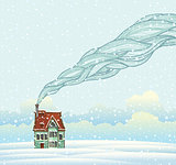 Cartoon winter house.