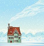 Winter house and smoke.