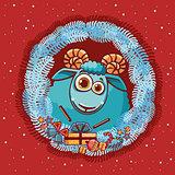 Christmas card - happy ram and frame.
