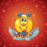 Cartoon ram and christmas background.