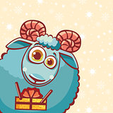 Cartoon ram and gift.
