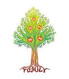Family hand tree. Concept illustration.
