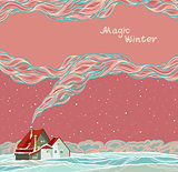 Magic winter - house and smoke