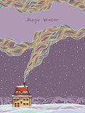 Winter card - house and smoke.