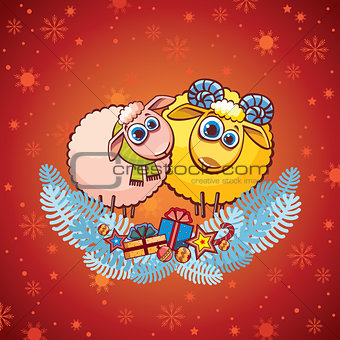 Cartoon sheep and funny ram.