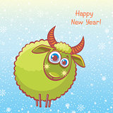 Funny sheep and new year.