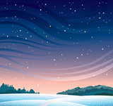 Winter night landscape.
