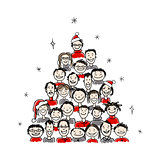 Christmas tree made from group of people for your design