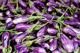 Fresh organic fairytale eggplant background,