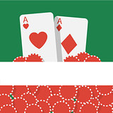 Vector poker background with playing cards and chips