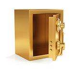 Illustration of golden closed safe isolated on white background.