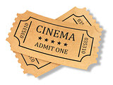 Render of retro cinema tickets on white background