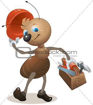 Carpenter ant in the helmet bears toolbox
