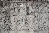 war scene carving prasat bayon temple Angkor Thom Cambodia