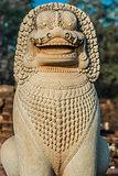 lion statue portrait Angkor Thom Cambodia