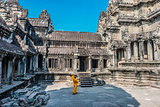 buddhist monk temple courtyard Angkor Wat Cambodia