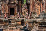 monkey statues Banteay Srei hindu pink temple Cambodia
