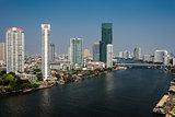 Chao Phraya river Bangkok cityscape Thailand
