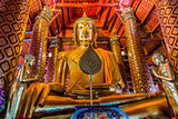 giant sitting buddha Wat Phanan Choeng temple Ayutthaya bangkok